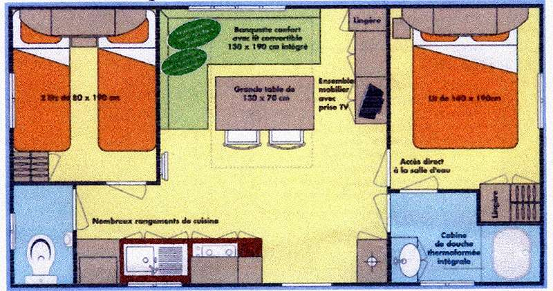 mobil-home 6 places - 28 m2 - 7.40 X 3.90 m